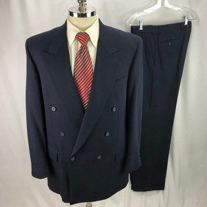 Terzo Uomo Mens Blue Double Breasted Wool Suit 41L